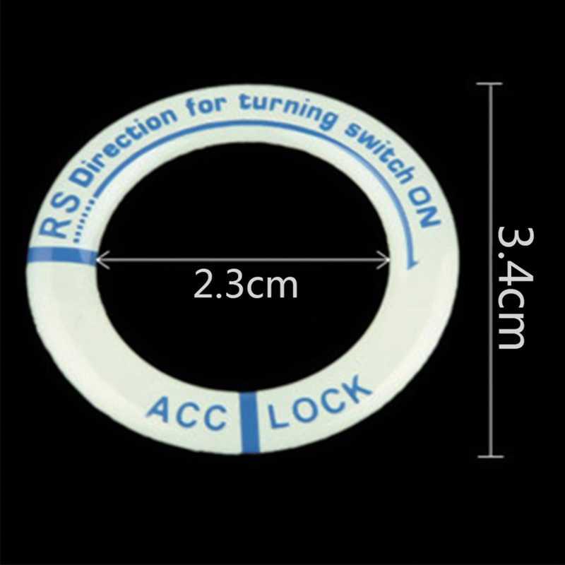 Luminous Key Ring naklejka dekoracyjna Car Styling wyłącznik zapłonu naklejka ochronna akcesoria do wnętrz samochodowych