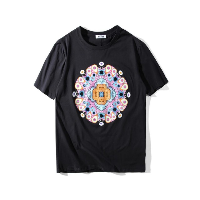 25dcc1832e0b 2018 Summer tide brand retro palace style round peacock print wreath T-shirt  men and women cotton short-sleeved T-shirt