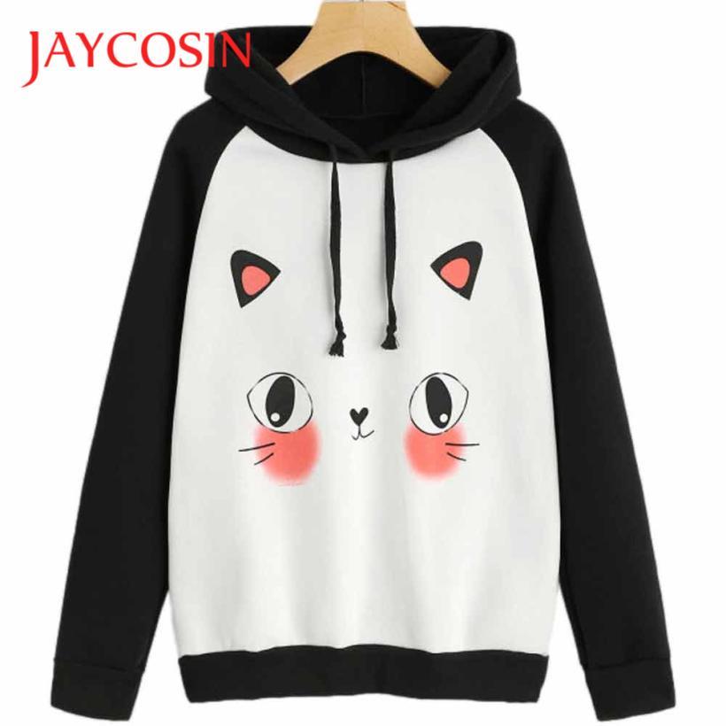 JAYCOSIN Hoodies Sweatshirts Cute Kawaii Cat Print Women Winter Hoodies Sweatshirt Harajuku 2017 Moletom Feminino de14