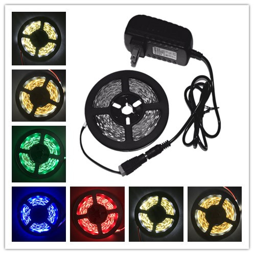 LED Strip Light 5m 60LEDs/m Single Color 2835SMD Flexible LED Tape 12V Power Supply ,Warm White,White,Red,Blue,Green ,Yellow