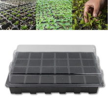 24 Holes Seedling Nursery Box Pots Tray With Lid Flower Plants Planter Garden Farmland Gardening Tools Supplies Black