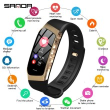 SANDA E18 smart watch heart rate monitor fitness tracker Bluetooth men and women bracelet for Android IOS