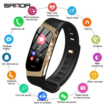 SANDA E18 smart watch heart rate monitor fitness tracker Bluetooth men and women smart bracelet for Android IOS heart rate monitor smart wrist for men women anti lost reminder smart watch for ios android shake photograph smart bracelet