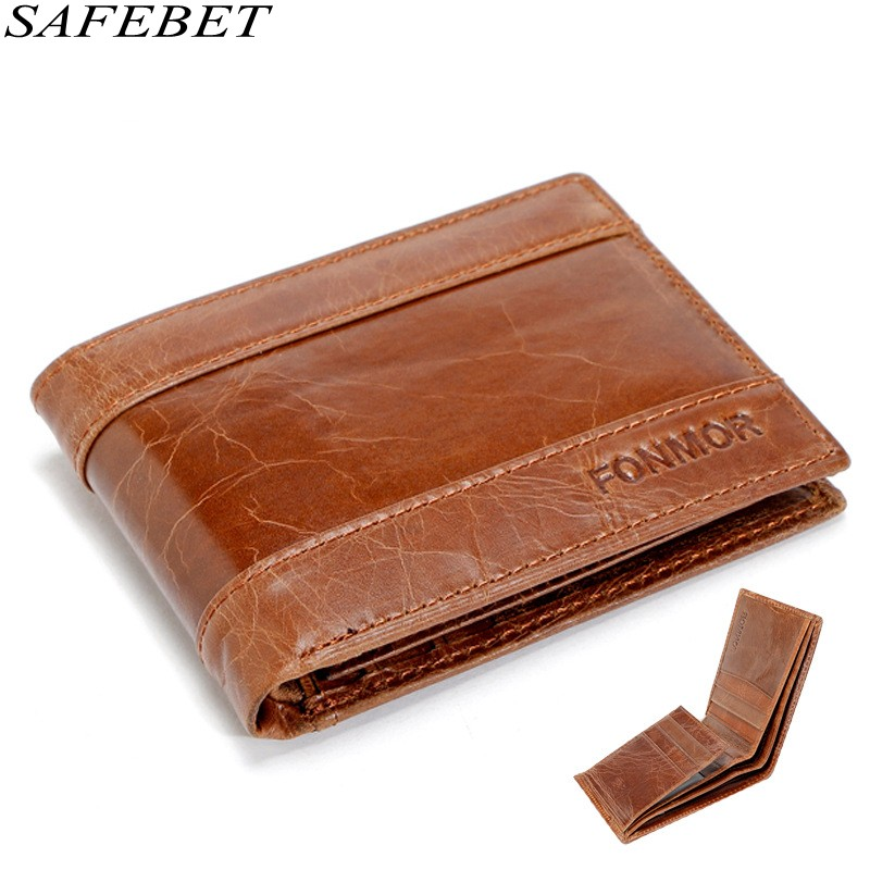 SAFEBET Brand Men Retro Oil Wax Genuine Leather Wallet Ultra Thin Short Section Multi-card bit Men Card Holder For Wallet