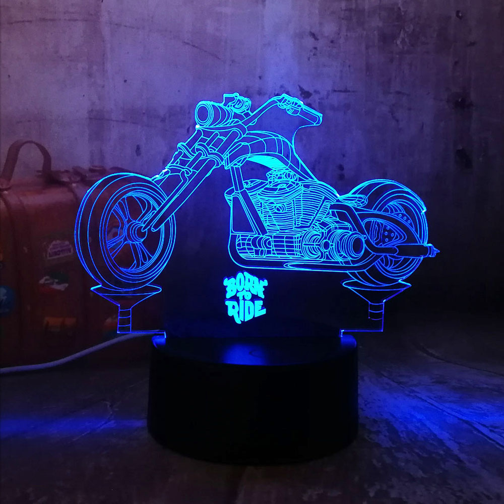 New Cool Born To Ride Motorcycle 3D LED Night Lights RGB 7
