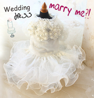 شحن مجاني جديد القادمين يدوية تصميم كلب الأميرة البيضاء فستان الزفاف الفاخرة الدانتيل اللؤلؤ الملابس الزواج الملابس