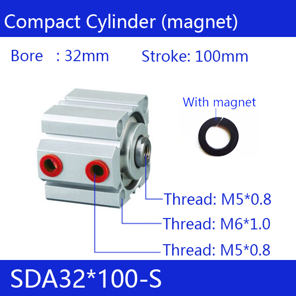 SDA32*100-S Free shipping 32mm Bore 100mm Stroke Compact Air Cylinders SDA32X100-S Dual Action Air Pneumatic Cylinder стоимость