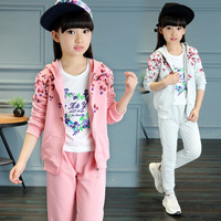 Pink Big Child Teens Girls Spring Long Sleeve 2 Two Pieces Set Tracksuit Clothes For Gilrs