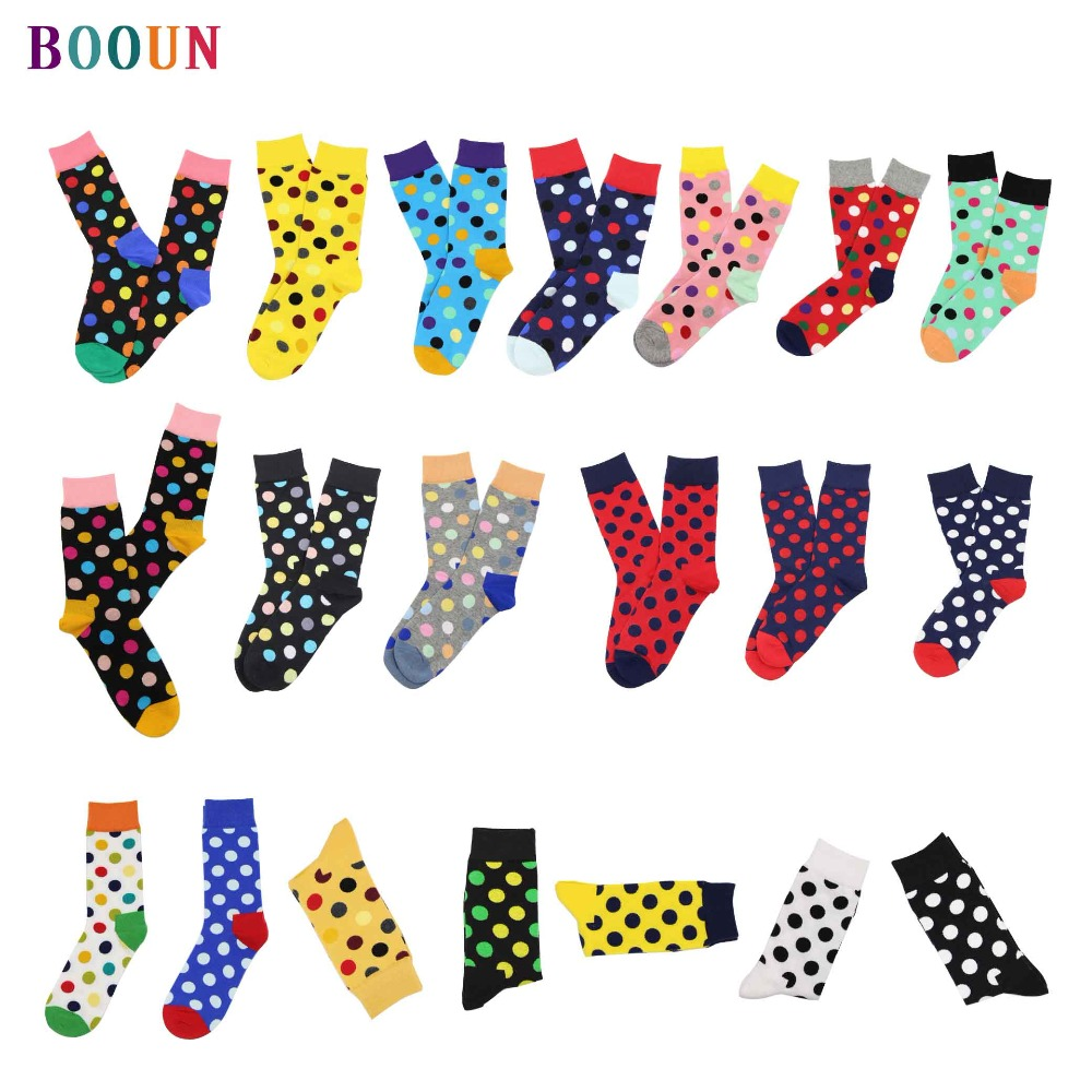 happy   socks   Spring summer autumn couple's combed cotton stocks not stinky dot pattern gifts for men