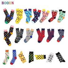 happy socks Spring summer autumn couple's combed cotton stocks not stinky dot pattern gift
