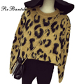 Rebantwa Otoño Sexy Leopardo de Navidad Suéter de Las Mujeres Suéteres Y Jerseys Causal Grueso Jersey de Punto Suéteres Para Mujer