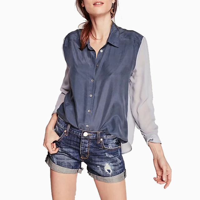 b70ae39c63482 US $14.56 |New Design Breezy Chiffon Women Mixed Colors Shirts Elegant  Office Work Wear Long Sleeve Blouse Female Loose Lapel Tops Blusas-in  Blouses & ...