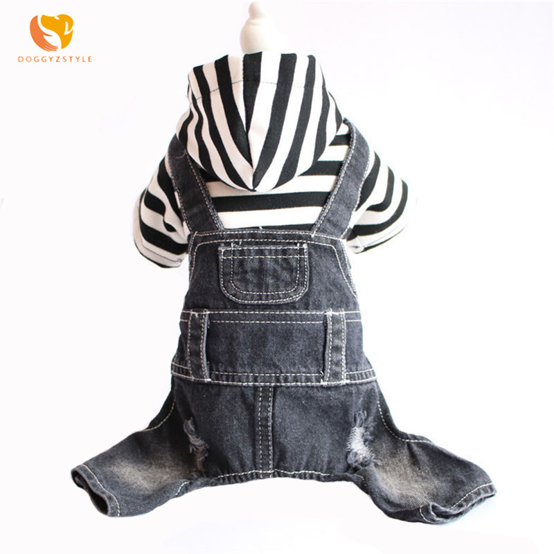DOGGYZSTYLE Pets Dog Denim Jumpsuit For Large Dogs Pajamas Warm Jean Sweater Coat Puppy Clothing Supplier(China)