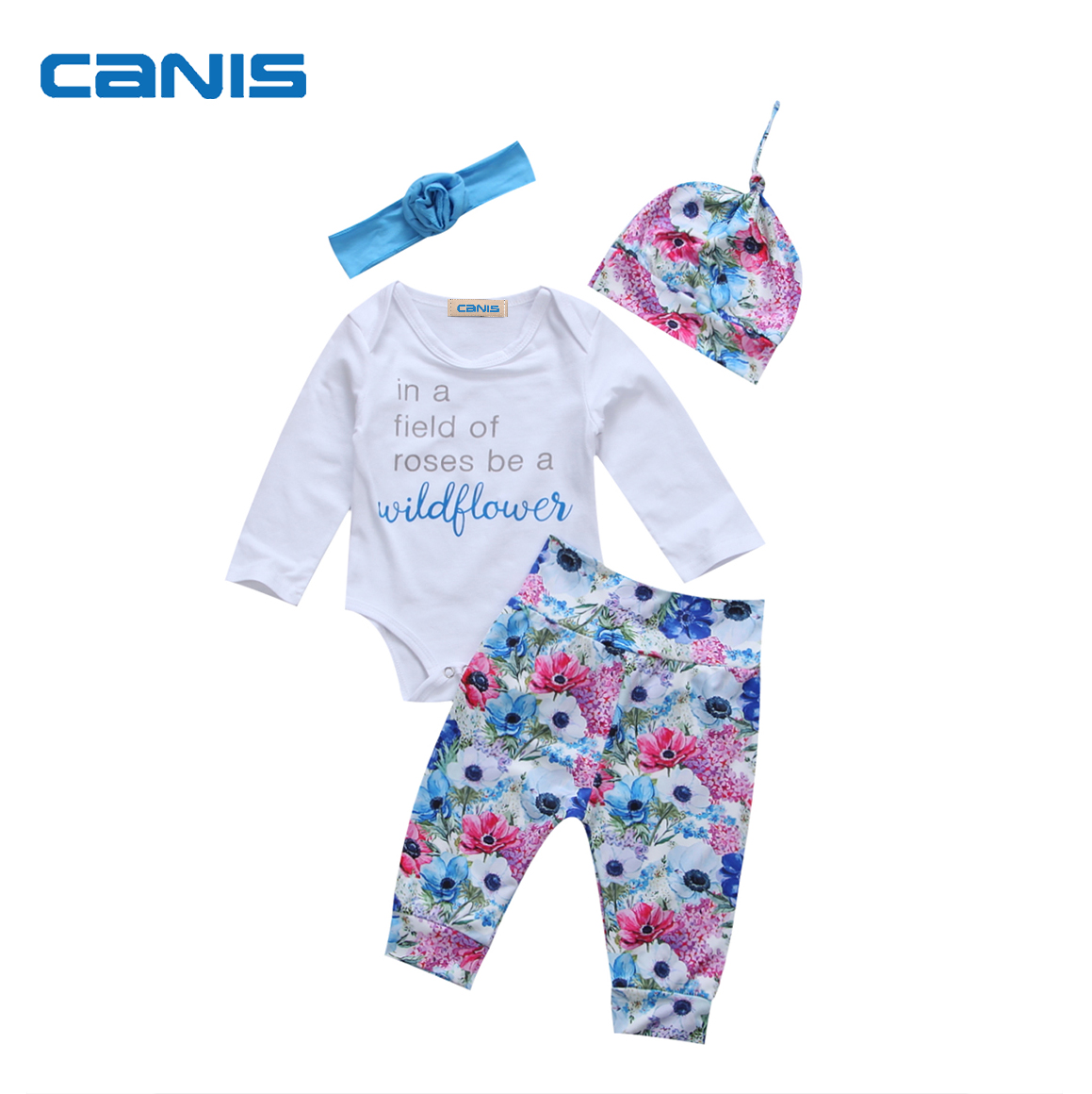 Girls' Baby Clothing 4pcs Blue Red Wildflower Print Newborn Kids Baby Girl Jumpsuit Romper Long Pants Outfits
