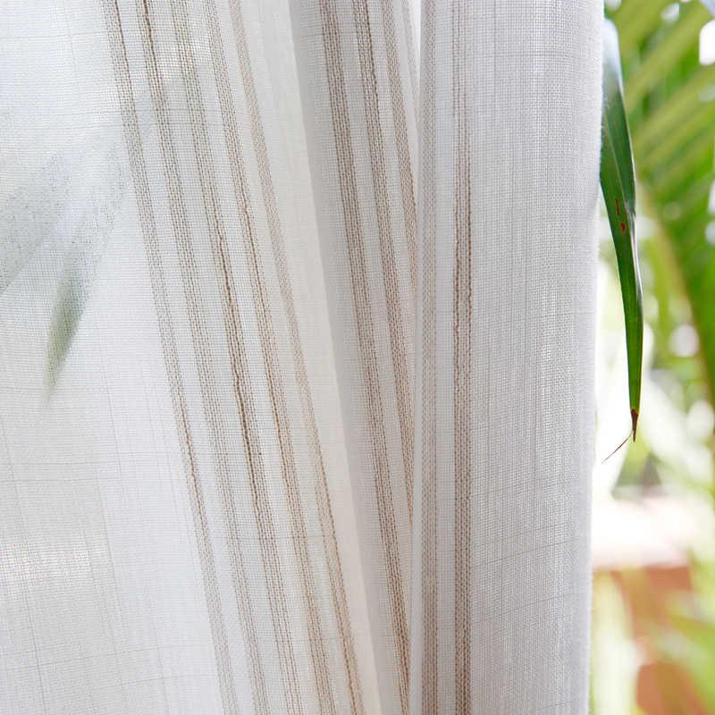 Городской вуаль белая занавеска для гостиной жаккардовая свежая полоса прозрачная Тюль занавеска s для кухни и спальни на заказ