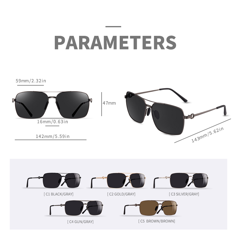 Image 3 - AOFLY Brand Design Classic Polarized Sunglasses For Men Driving Shades Alloy Retro Frame Square Sunglasses Male zonnebril heren-in Men's Sunglasses from Apparel Accessories on AliExpress