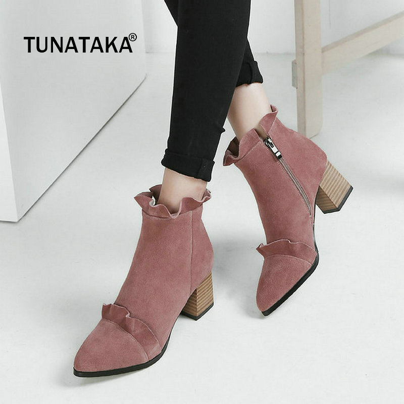 Suede Comfort Square High Heel Pointed Toe Woman Ankle Boots Fashion Ruffles Zipper Dress Shoes Woman Black woman shinning patent leather ankle boots fashion square toe shoes woman chunky heels dress party shoes woman zipper short boots