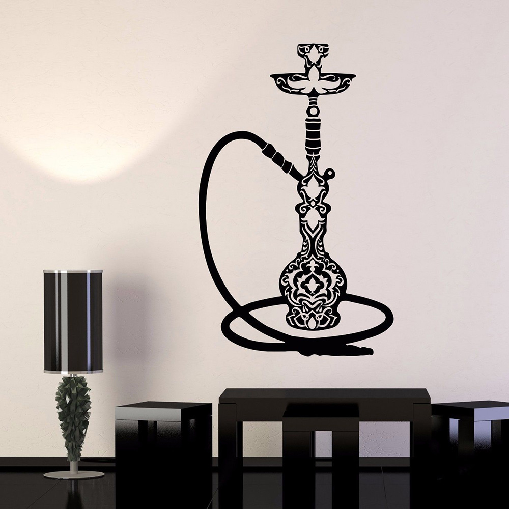 Us 6 97 25 Off Vinyl Wall Decal Smoke Hookah Smoking Cafe Wall Stickers Shisha Wall Art Mural For Store Shop Window Glass Sign Decor L861 In Wall