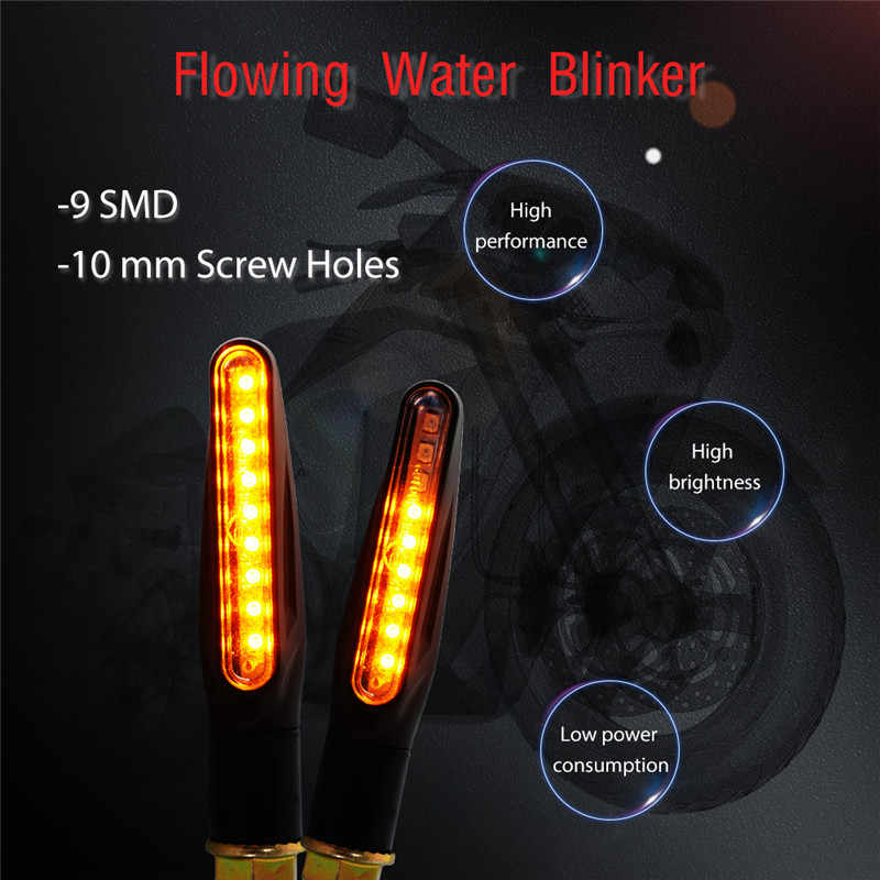 4x Motorcycle Turn Signals Motocross Flowing Water Led Blinker Flexible Tail Light Motorbike Indicator Lamp Scooter