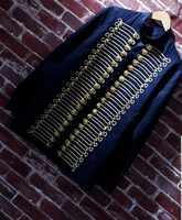 送料船海軍ダークロイヤルブルーメンズ中世スタイルの一般的な長袖シャツの男性の黄金のコードボタンシャツ cos