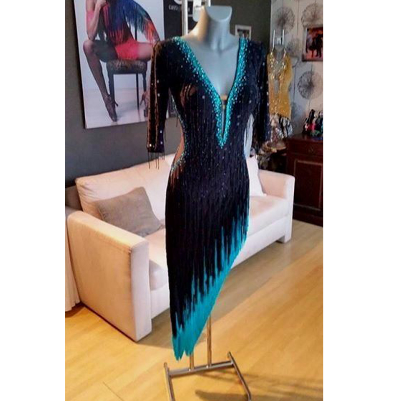 GOODANPAR Sexy Black Women Latin Dance Competition Dress With Bodysuit Bra Cup Mesh Lycra Salsa Samba Rumba Stage Dance Wear