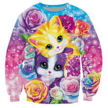 2017 Autumn Newest Men/Women fashion Long Sleeve Outerwear high-quality Streetwear clothing Kitten Roses 3d Print Sweatshirt