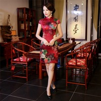 Shanghai Story 2018 Short Qipao Silk Cheongsam With Lining Folk Style Dress Short Sleeve Chinese Summer Dress for Ladies