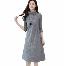 dc009fd494 Panie wełniana sukienka dla kobiet dzianiny z długim rękawem z golfem  elegancka linia a sukienka gruby jesień zima Plus rozmiar .