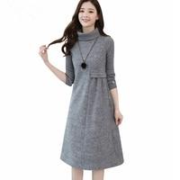 Ladies Woolen Dress for Women Knit Long Sleeve Turtleneck Elegant A line Dress Thick Autumn Winter Plus Size Casual Midi Dress