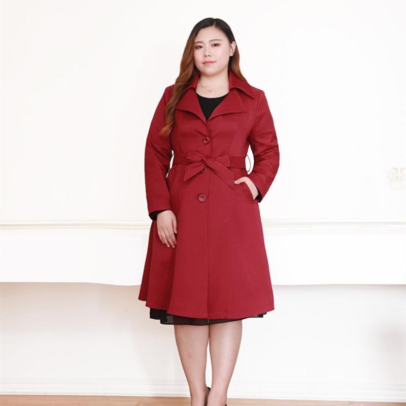 Elegant Trench Lady OL Women's Long Classic Windbreaker Women Office Trench Coat Plus Size 5XL 6XL 8XL 10XL 140KG Top Quality