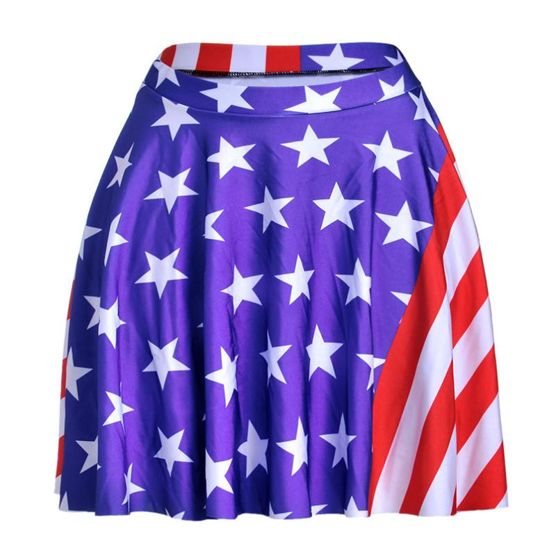 New 2016 Summer Sporting Skirts Blue American Flag Skirts Digital Printed Girls Above Knee Pleated Blue Skirts YEU