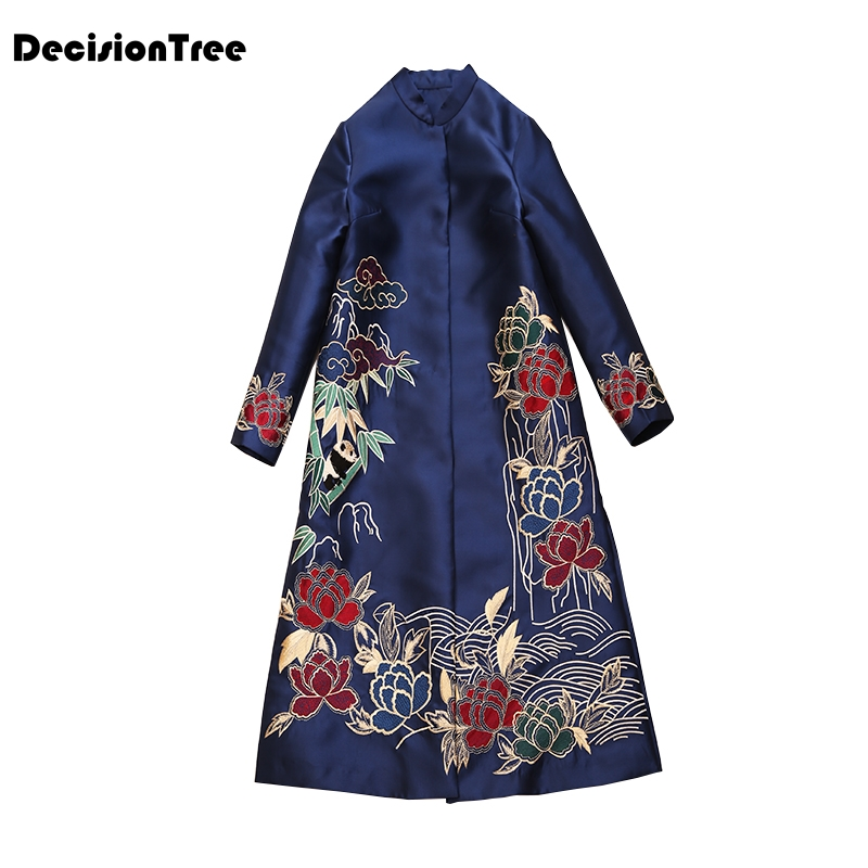 2020 Retro Chinese Women Natural Silk Cheongsam Dress Qipao Long Party Wear Blue Cheongsams Chinese Dress Embroidered Women