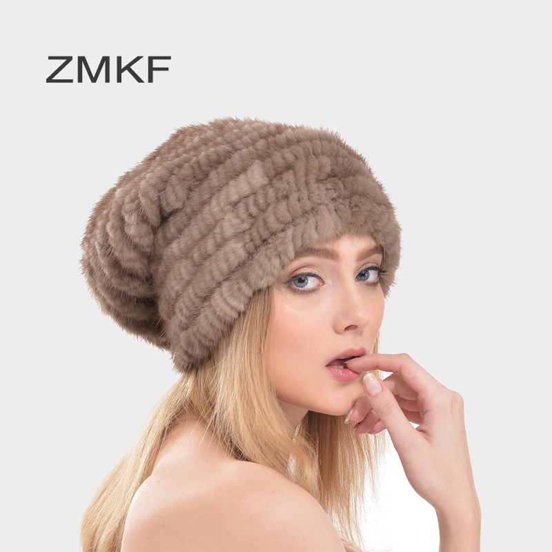 2017 ZMKF New Winter Mink fur hat for women knitted mink fur strip beanies Classic and simple cap Enough warm Ear protect hat foreign trade explosion models in europe and america in winter knit hat fashion warm mink mink hat lady ear cap dhy 36