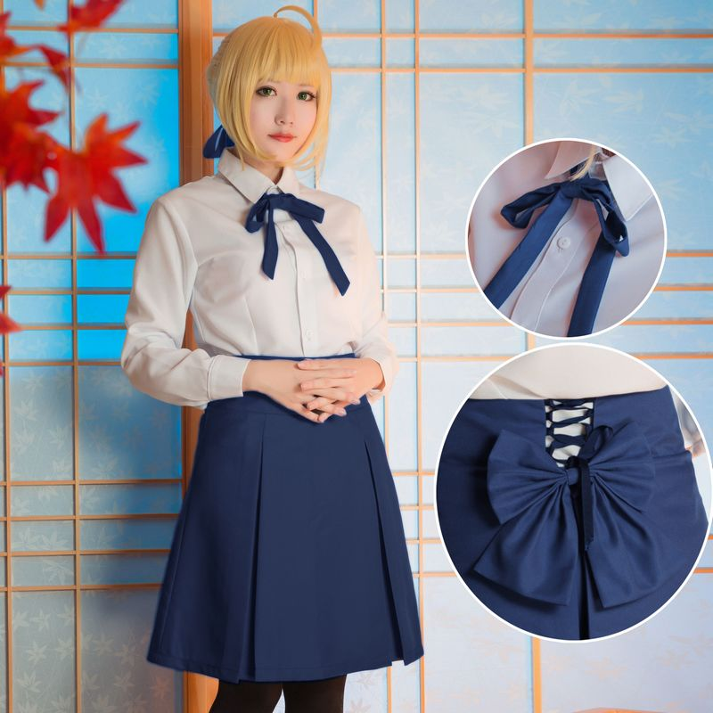 Anime Fate/Stay Night Saber Arturia Pendragon Cosplay Costume School Uniform Outfit Blue Skirt Halloween Costumes for Women S XL