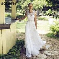 2019 Sexy Applique Scoop Chiffon Illusion Beach Bridal Gown Wedding Dresses Vestidos de Noivas Custom