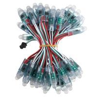 Smuxi 50 Sztuk 12mm Moduł LED RGB String Wodoodporna DC5V WS2811 Cyfrowy Pełny Kolor DOPROWADZIŁY Pikseli Ciąg Światło IP68