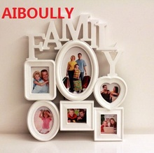 AIBOULLY Fashion Photo Frame Combination Wedding Plastic Frame With Family Theme, Can Save On Wall or Table, Home Decoration