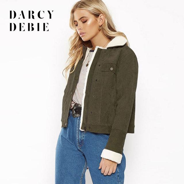 2722226975 Darcydebie Women Fashion Casual Army Green Corduroy Turn-Down Collar Short  hair Single Breasted Zippers Jacket Coats