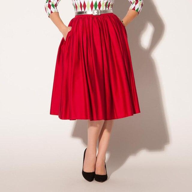 30541a36a 40- women vintage 50s jenny skirt in red high waist rockabilly pinup swing  skirts plus size saias femininas female faldas