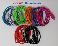 200cm 6ft braided Nylon Micro USB V8 Charger Cable Data Sync Cord Wire For Samsung HTC