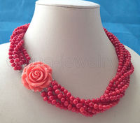 Beautiful 19 5mm 6row red coral necklace GP clasp