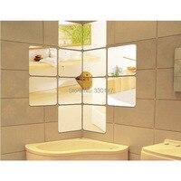 (12 teile/los) 15*15 cm Acryl Spiegel Wandaufkleber Quadrat Runde Winkel DIY 3D Dekoration der Wohnzimmer Schlafzimmer Schwarz Gold