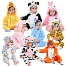 Мягкая детская зимняя Фланелевая пижама с животными; фланелевые халаты с рисунками животных; зимний комбинезон на молнии; одежда для маленьких девочек