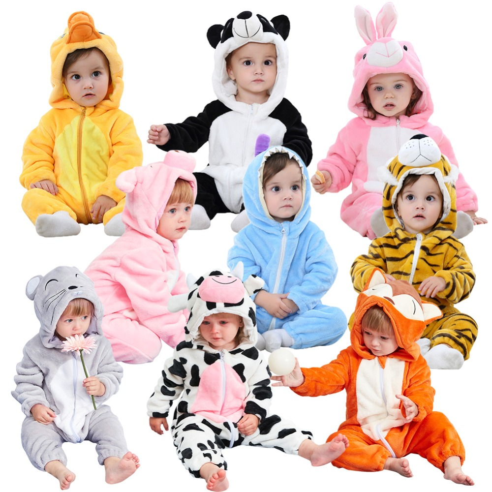 Soft Children Sleeper Winter Flannel Animal Pajamas Baby Flannel Cartoon Animal  Robes Winter Zipper Jumpsuit Baby Girl Clothes