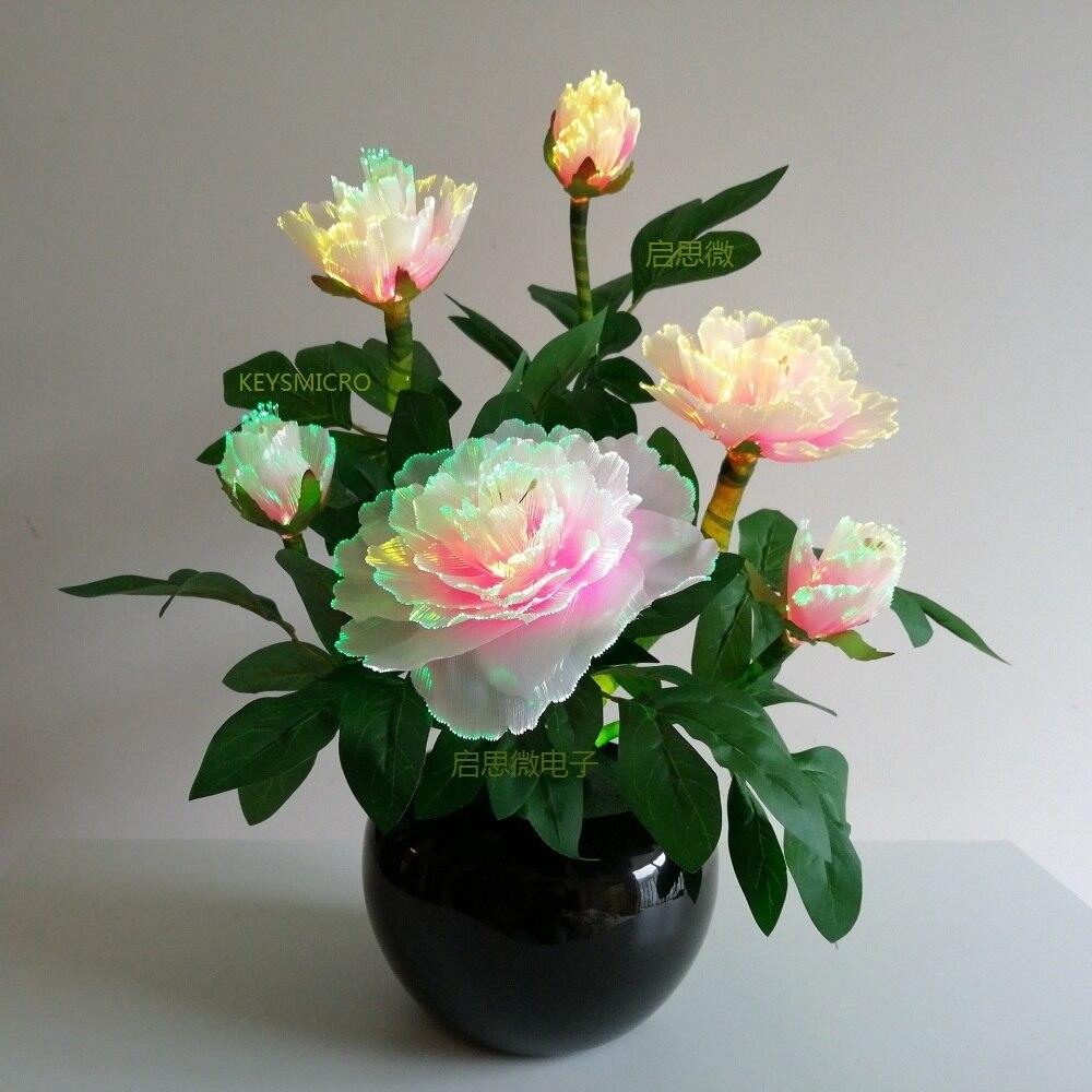 6 têtes pivoine noël fibre optique fleur lampe à LED coloré fleur automne européen vif pivoine fausse feuille mariage maison fête déco