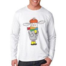 New Sale Men T-Shirt Cute Cartoon Rabbit Printed Funny T Shirts Long Sleeve Casual Tops Mens Clothing Cotton Tee Shirt For Man