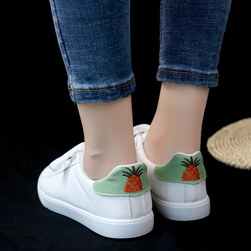 SWYIVY PU Leather Waterpoof White Shoes Woman Sneakers Flats 2018 Schoole Student Flats Causal Shoes Woman Sneakers Embriodery