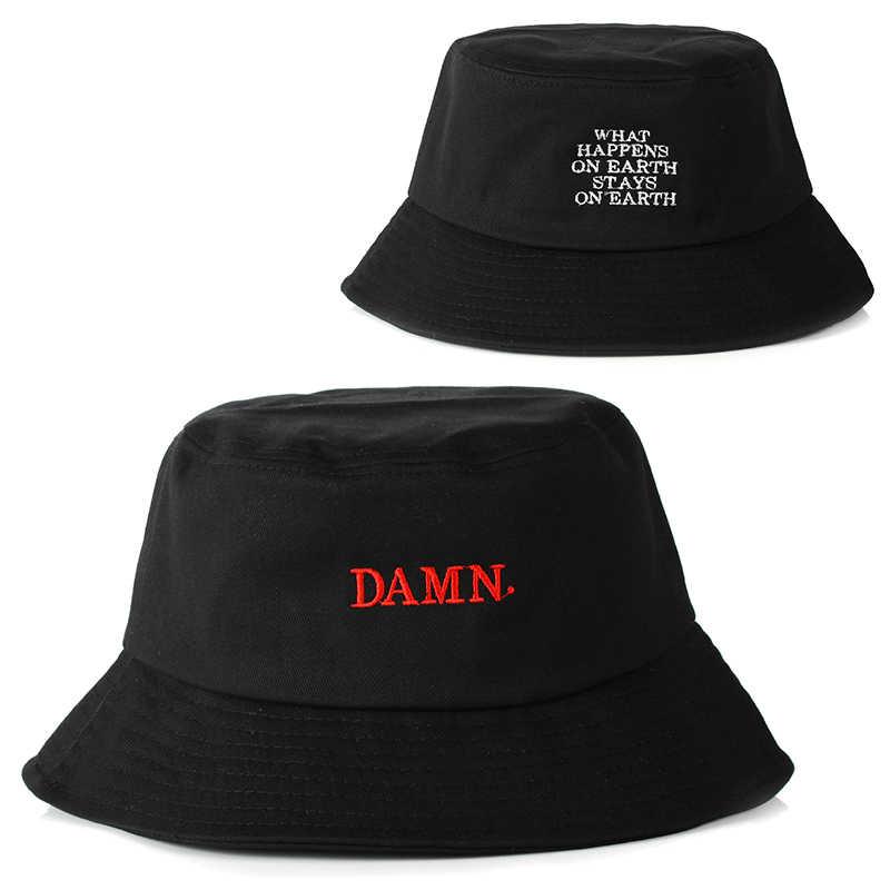 572eb71da4021 2018 newest black bucket hat for women men DAMN embroidery fishermen hat  fashion bucket caps brand