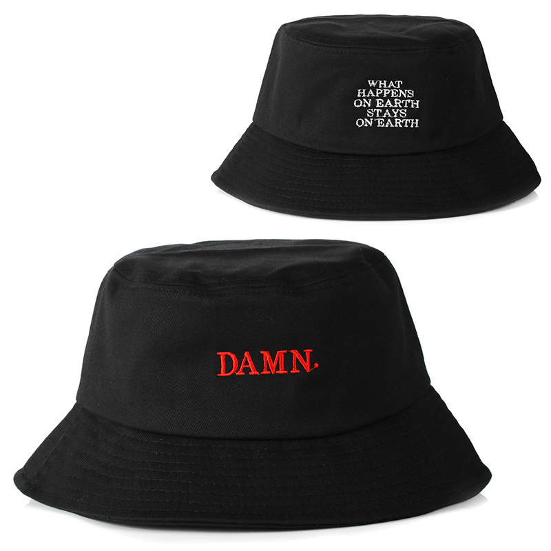 Newest Black Bucket Hat For Women Men DAMN Embroidery Fishermen Hat Fashion Bucket Caps Brand Hats Fashion Cheapu