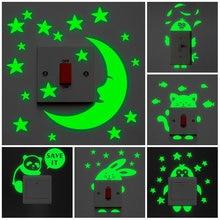Adesivo luminoso pendente dos desenhos animados, adesivo de parede do gato, estrela, lua que brilha no escuro, decoração de casa, quarto de criança, decalque